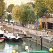 vj video background Beautiful-White-Ship-On-Wien-In-Vienna-Austria-Schwedenplatz-Donaukanal-Stadtkanal_003