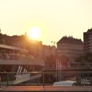 vj video background Incredible-Breathtaking-Bridge-View-On-The-Sunset-On-Wien-In-Vienna-Austria-Schwedenplatz-Donaukanal-Stadtkanal_003
