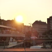 Incredible-Breathtaking-Bridge-View-On-The-Sunset-On-Wien-In-Vienna-Austria-Schwedenplatz-Donaukanal-Stadtkanal_006 🔴  National Footage