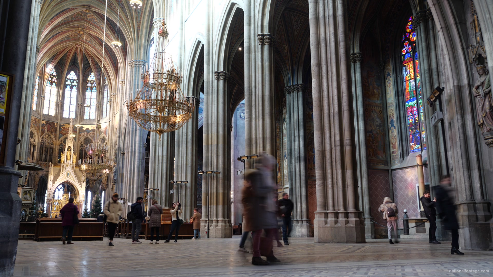 vj video background Tourism-travel-people-in-gothic-Vienna-Church-timelapse-_003