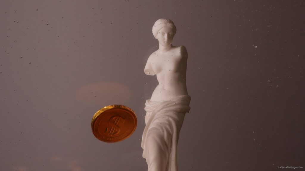 Beauty-Venus-statue-with-gold-dollars-coins-falls-in-slow-motion_007 National Footage