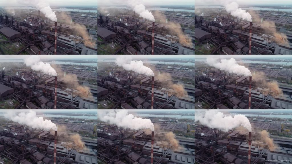 Air-polution-large-pipe-with-a-thick-coal-smelter National Footage