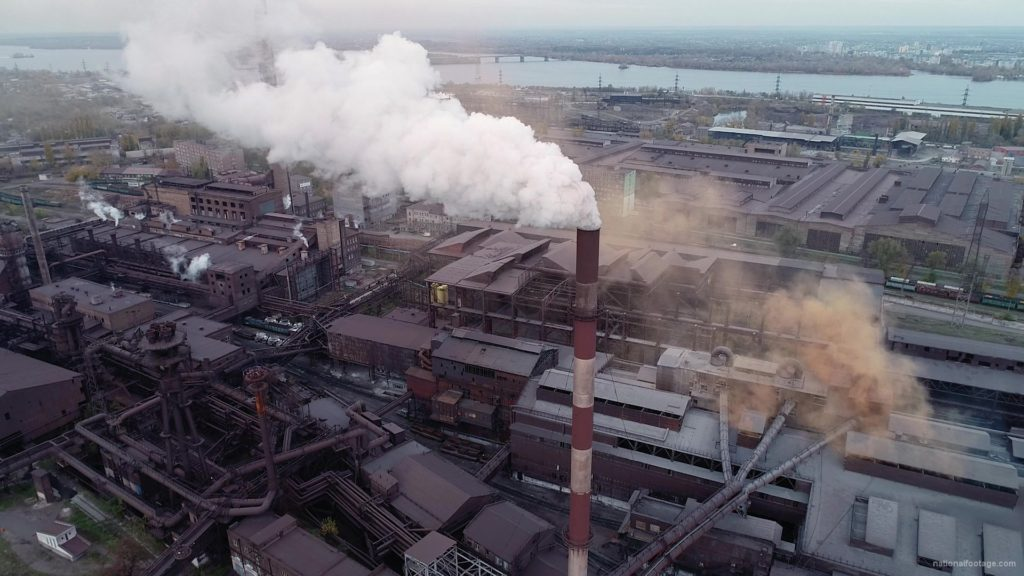 Air-polution-large-pipe-with-a-thick-coal-smelter_006 National Footage