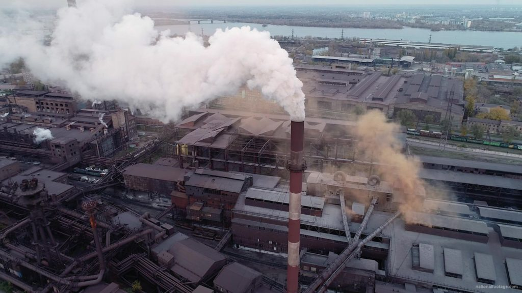Air-polution-large-pipe-with-a-thick-coal-smelter_009 National Footage