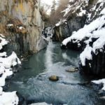 vj video background Beautiful-river-in-snowy-mountains-with-birds-eye-landscape-decoration_003