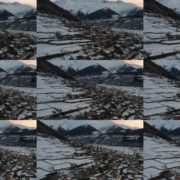 Caucas-mountains-aero-drone-Video-in-Geogrian-Village-in-Winter National Footage