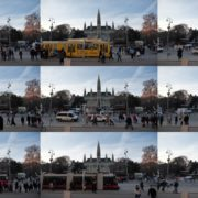 Timelapse-in-the-center-of-Vienna-Rathaus-Travel-people-tourists National Footage