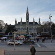 vj video background Timelapse-in-the-center-of-Vienna-Rathaus-Travel-people-tourists_003