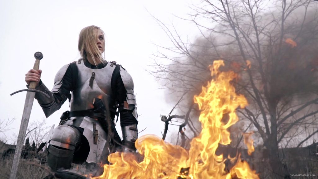 War-Girl-in-fire-with-sword-Knight-brave-woman-in-France_002 National Footage
