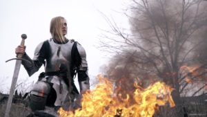 vj video background War-Girl-in-fire-with-sword-Knight-brave-woman-in-France_003