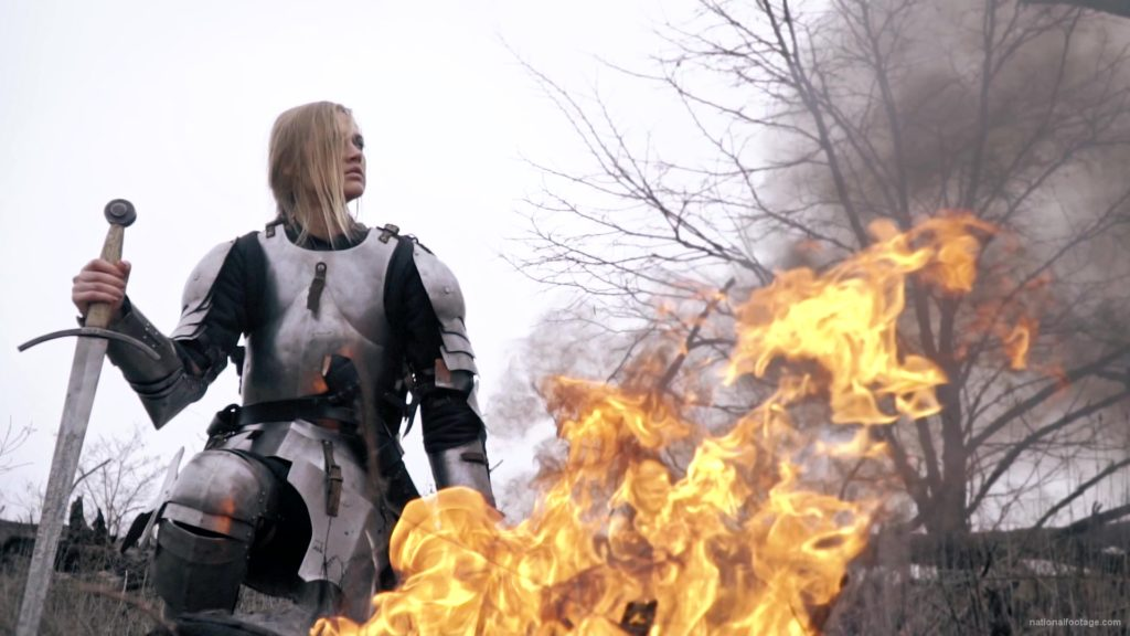 War-Girl-in-fire-with-sword-Knight-brave-woman-in-France_005 National Footage