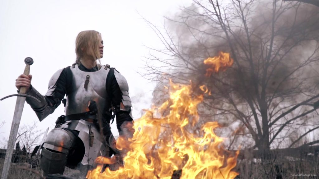 War-Girl-in-fire-with-sword-Knight-brave-woman-in-France_007 National Footage