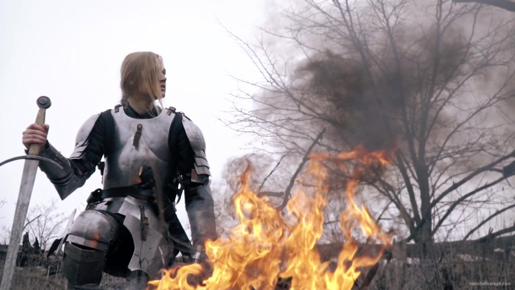 War-Girl-in-fire-with-sword-Knight-brave-woman-in-France_008 National Footage