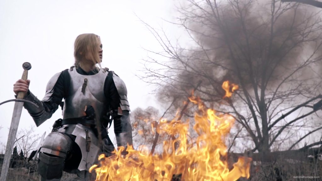 War-Girl-in-fire-with-sword-Knight-brave-woman-in-France_009 National Footage
