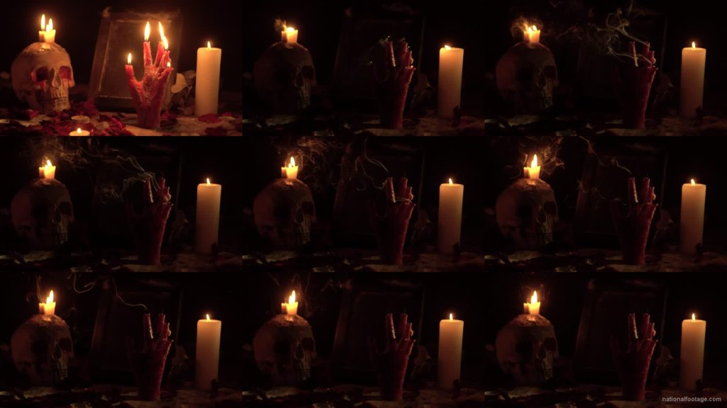 skull-with-a-candle-and-a-hand-in-the-form-of-a-candle-from-the-quench-of-the-wind National Footage